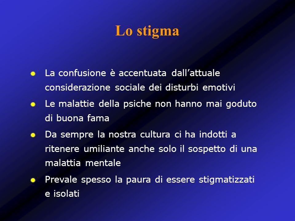 Lo stigma La confusione è accentuata dall'attuale considerazione sociale dei disturbi emotivi.