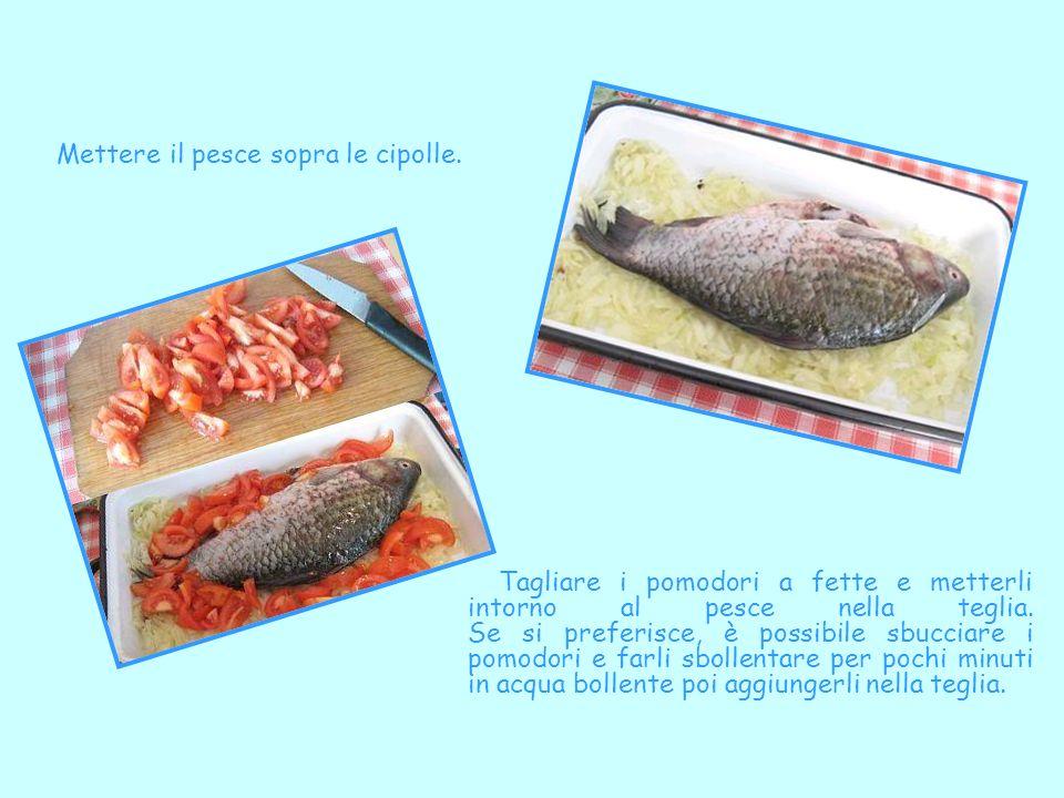 Mettere il pesce sopra le cipolle.
