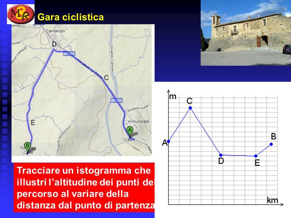 Gara ciclistica Tracciare un istogramma che illustri l'altitudine dei punti del percorso al variare della distanza dal punto di partenza.