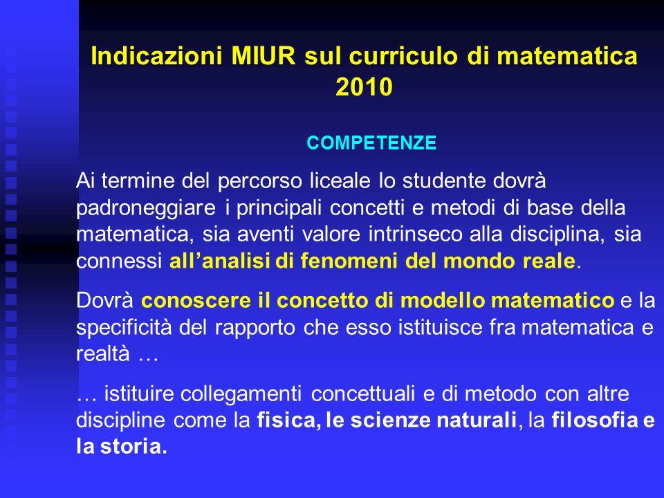 Indicazioni MIUR sul curriculo di matematica 2010