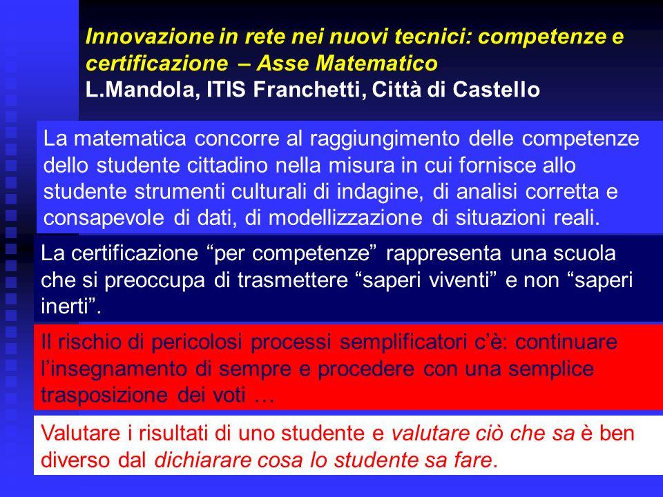 Innovazione in rete nei nuovi tecnici: competenze e certificazione – Asse Matematico L.Mandola, ITIS Franchetti, Città di Castello