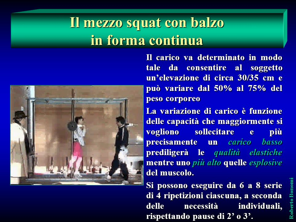 Il mezzo squat con balzo in forma continua