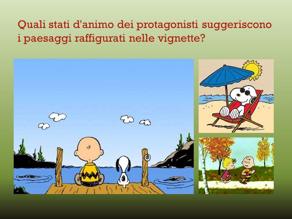 Quali stati d animo dei protagonisti suggeriscono i paesaggi raffigurati nelle vignette