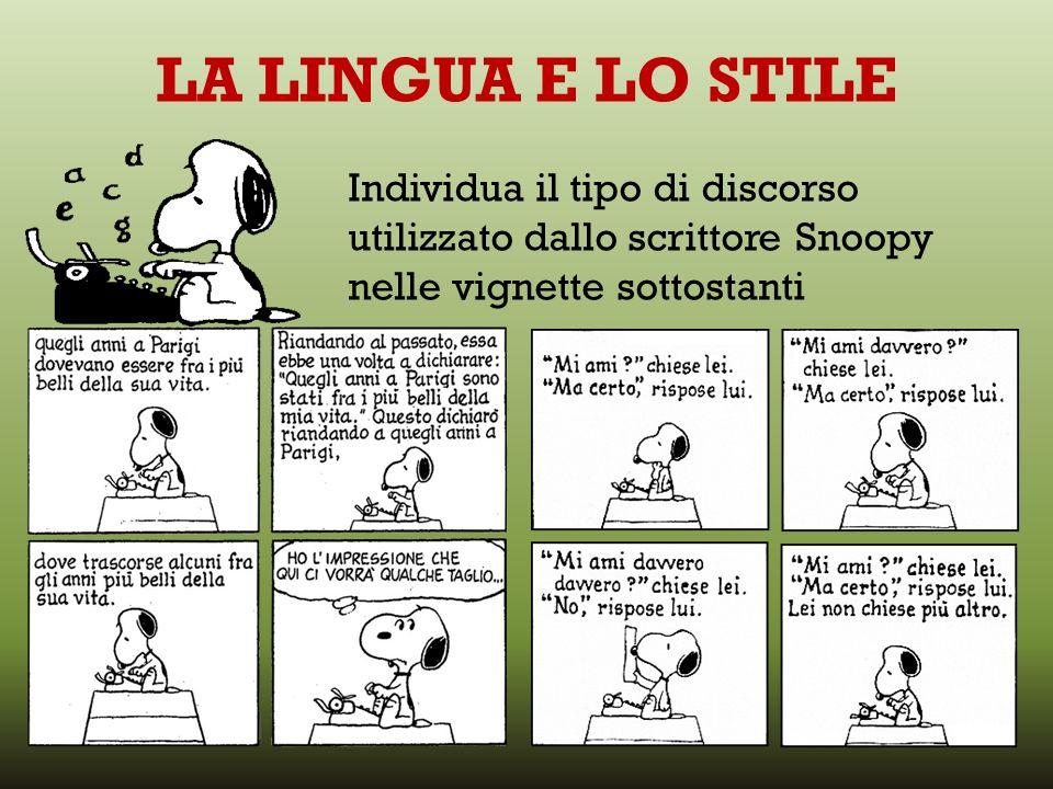 LA LINGUA E LO STILE Individua il tipo di discorso utilizzato dallo scrittore Snoopy nelle vignette sottostanti.