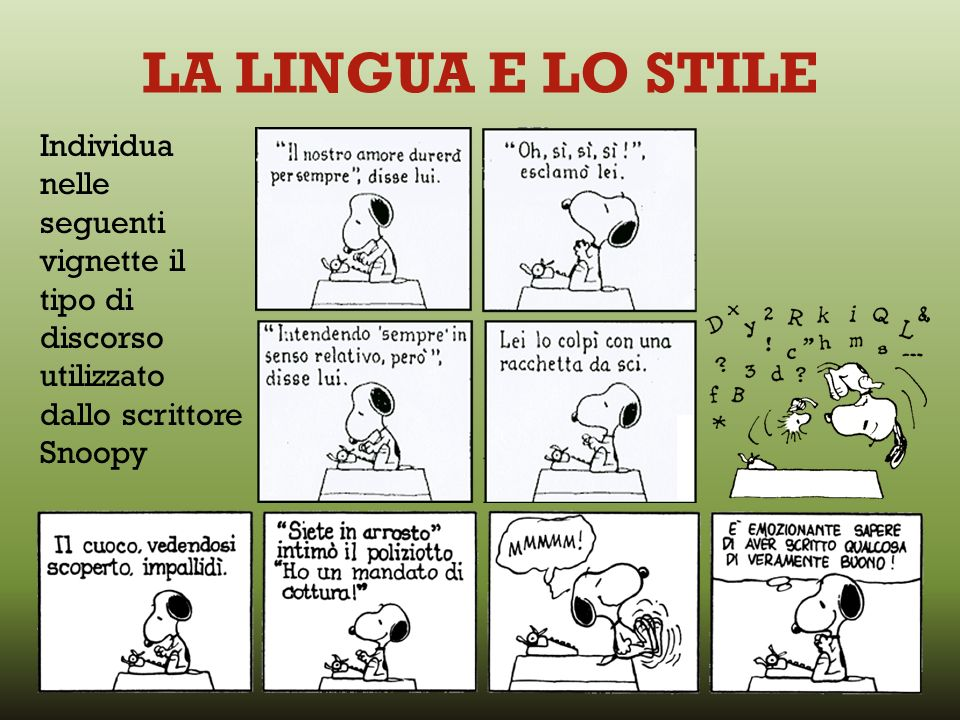 LA LINGUA E LO STILE Individua nelle seguenti vignette il tipo di discorso utilizzato dallo scrittore Snoopy.