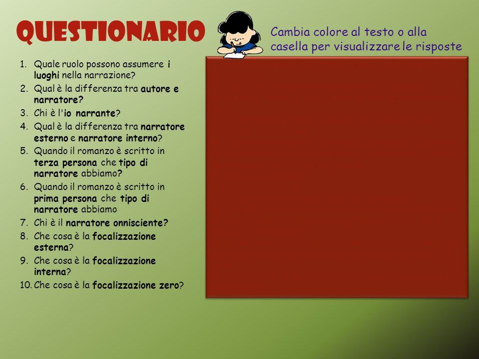 Questionario Cambia colore al testo o alla casella per visualizzare le risposte. Quale ruolo possono assumere i luoghi nella narrazione
