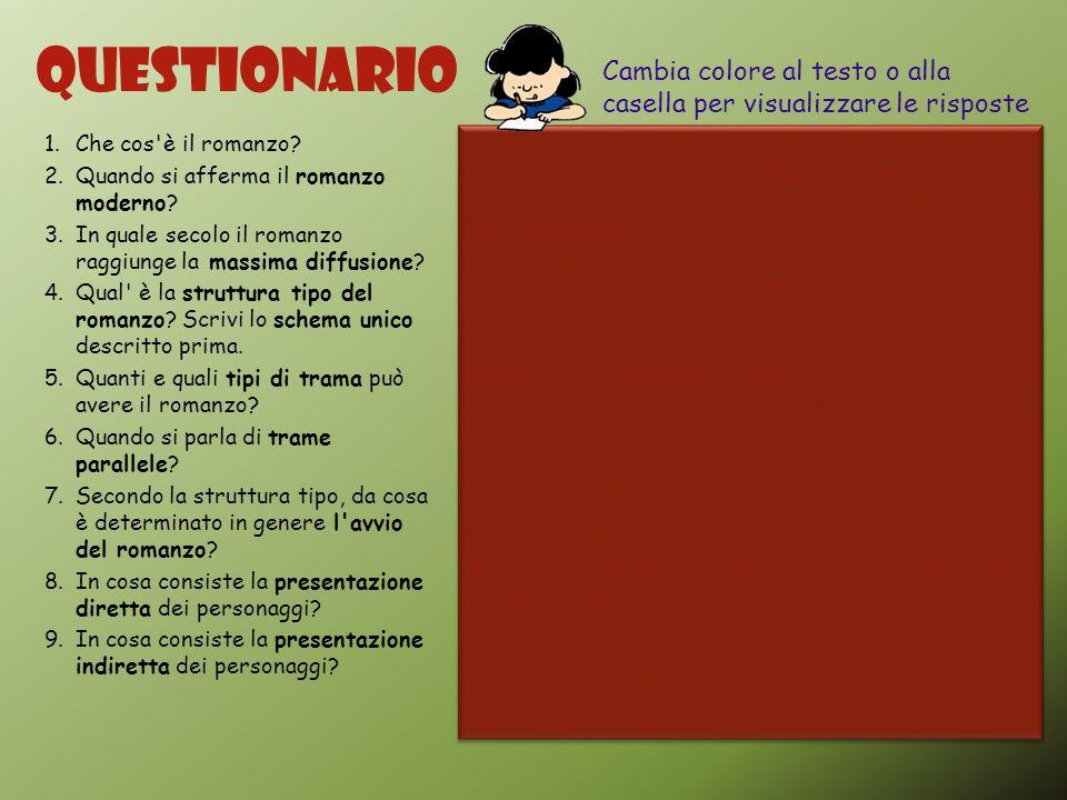 Questionario Cambia colore al testo o alla casella per visualizzare le risposte. Che cos è il romanzo