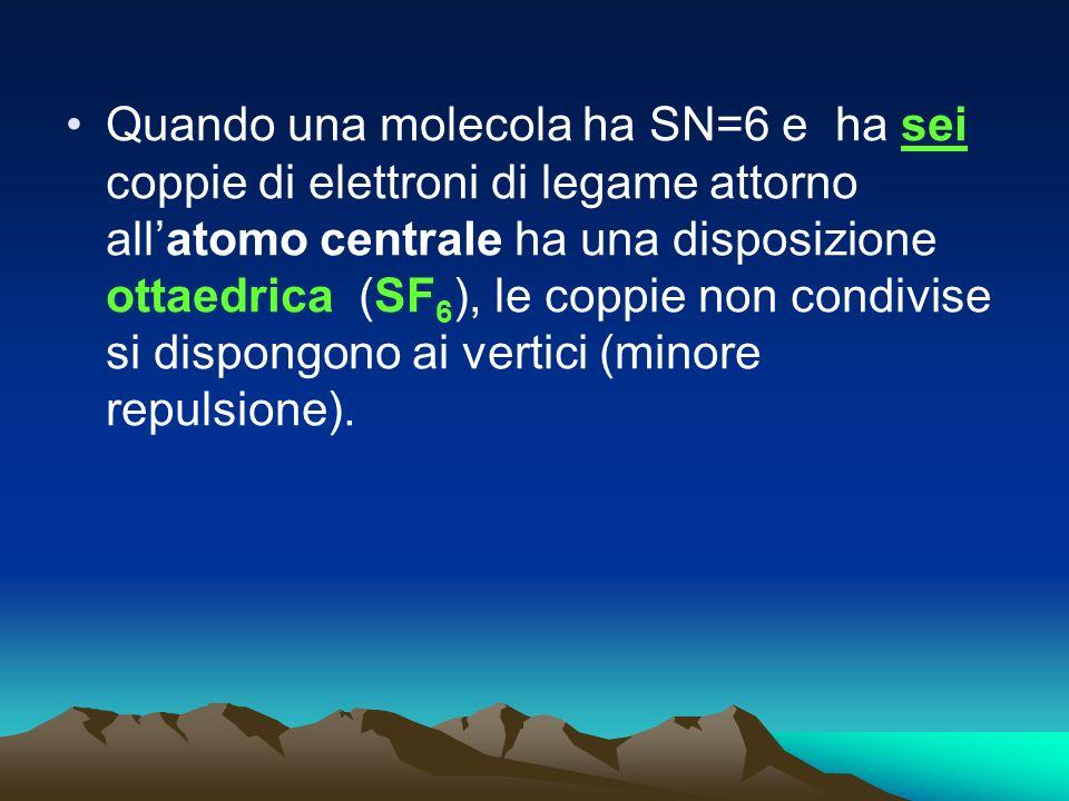 Quando una molecola ha SN=6 e ha sei coppie di elettroni di legame attorno all'atomo centrale ha una disposizione ottaedrica (SF6), le coppie non condivise si dispongono ai vertici (minore repulsione).