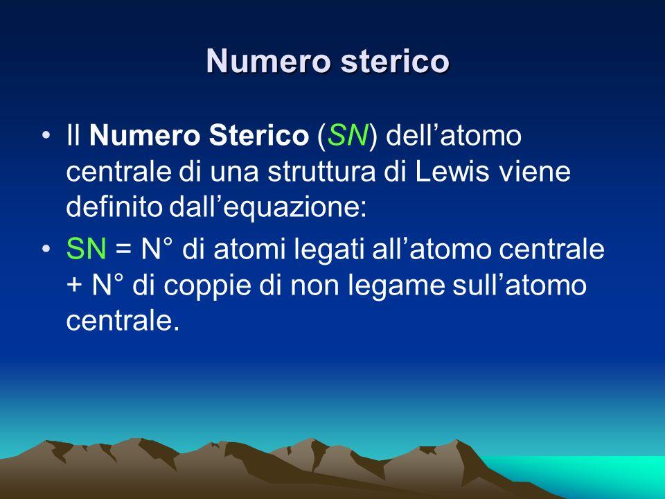 Numero sterico Il Numero Sterico (SN) dell'atomo centrale di una struttura di Lewis viene definito dall'equazione: