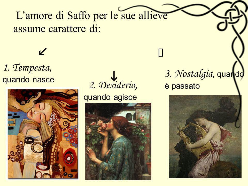 i l à L'amore di Saffo per le sue allieve assume carattere di: