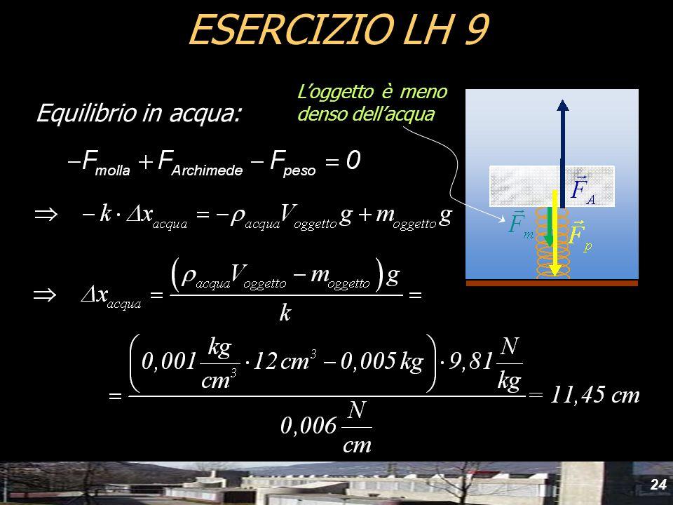 ESERCIZIO LH 9 L'oggetto è meno denso dell'acqua Equilibrio in acqua: