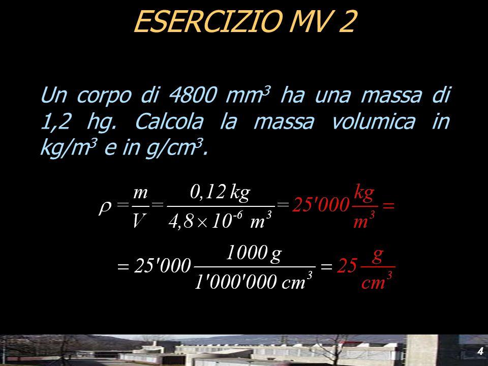 yyd ESERCIZIO MV 2. Un corpo di 4800 mm3 ha una massa di 1,2 hg.
