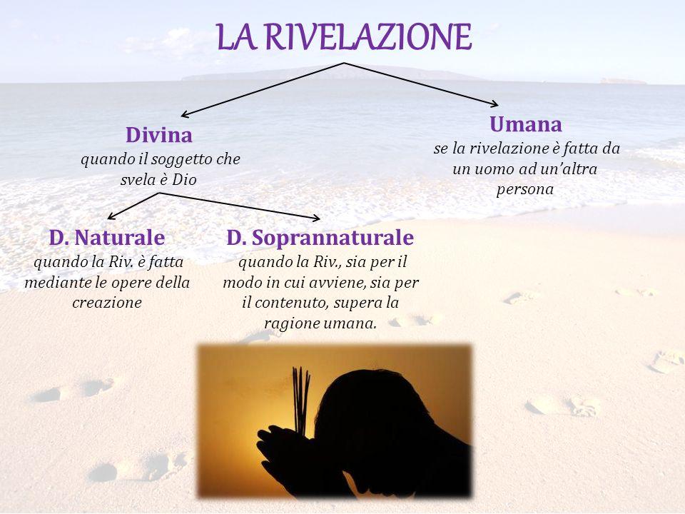 LA RIVELAZIONE Umana Divina D. Naturale D. Soprannaturale