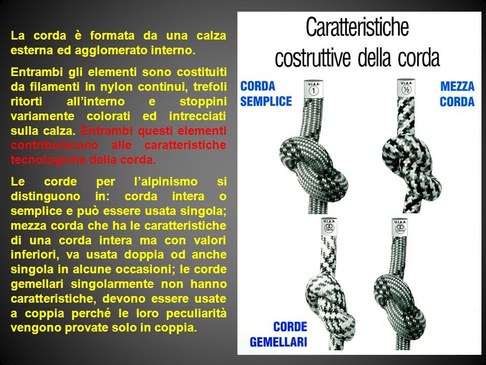 La corda è formata da una calza esterna ed agglomerato interno.