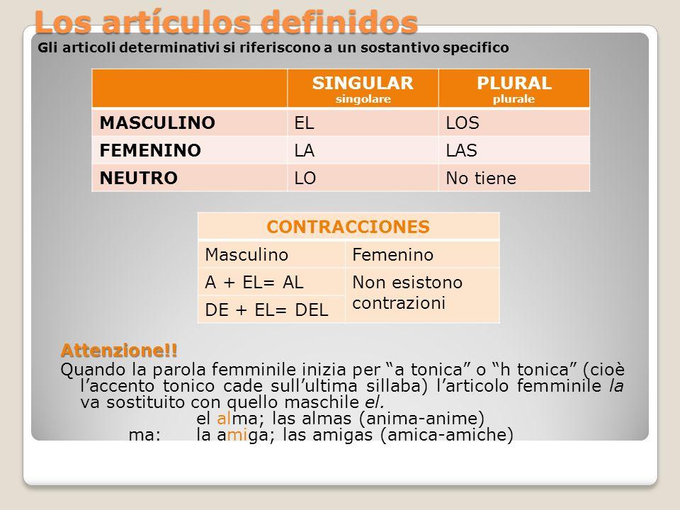 Los artículos definidos Gli articoli determinativi si riferiscono a un sostantivo specifico