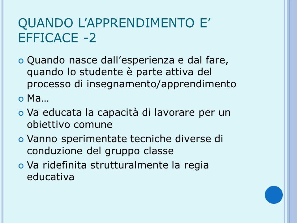 QUANDO L'APPRENDIMENTO E' EFFICACE -2