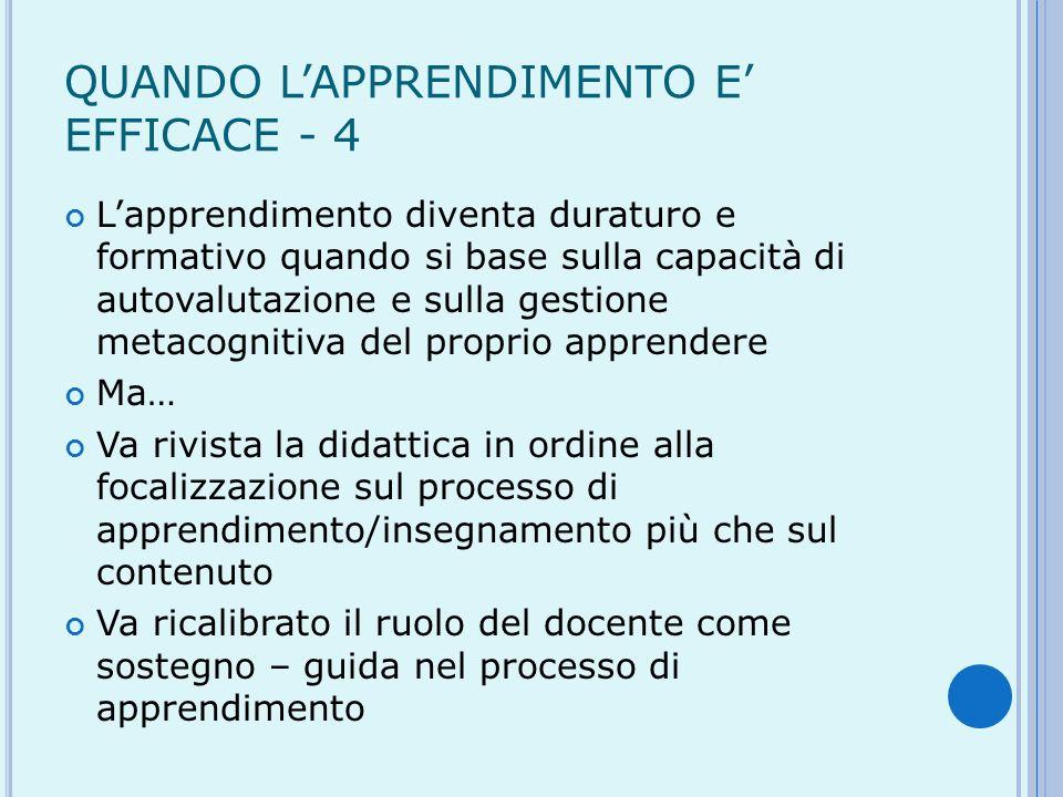 QUANDO L'APPRENDIMENTO E' EFFICACE - 4