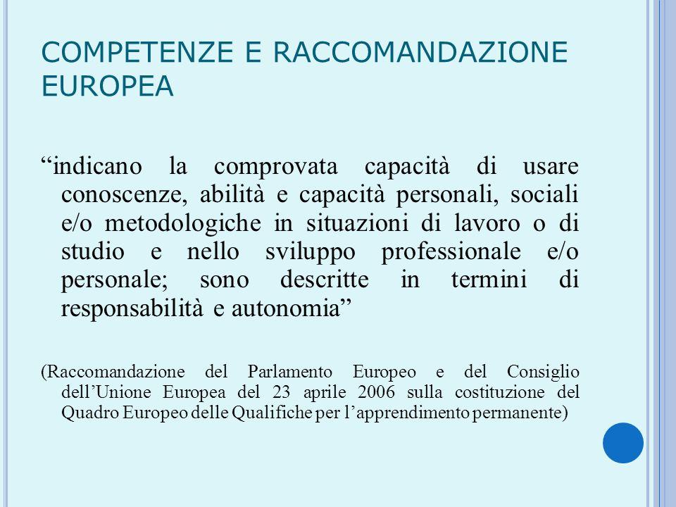 COMPETENZE E RACCOMANDAZIONE EUROPEA