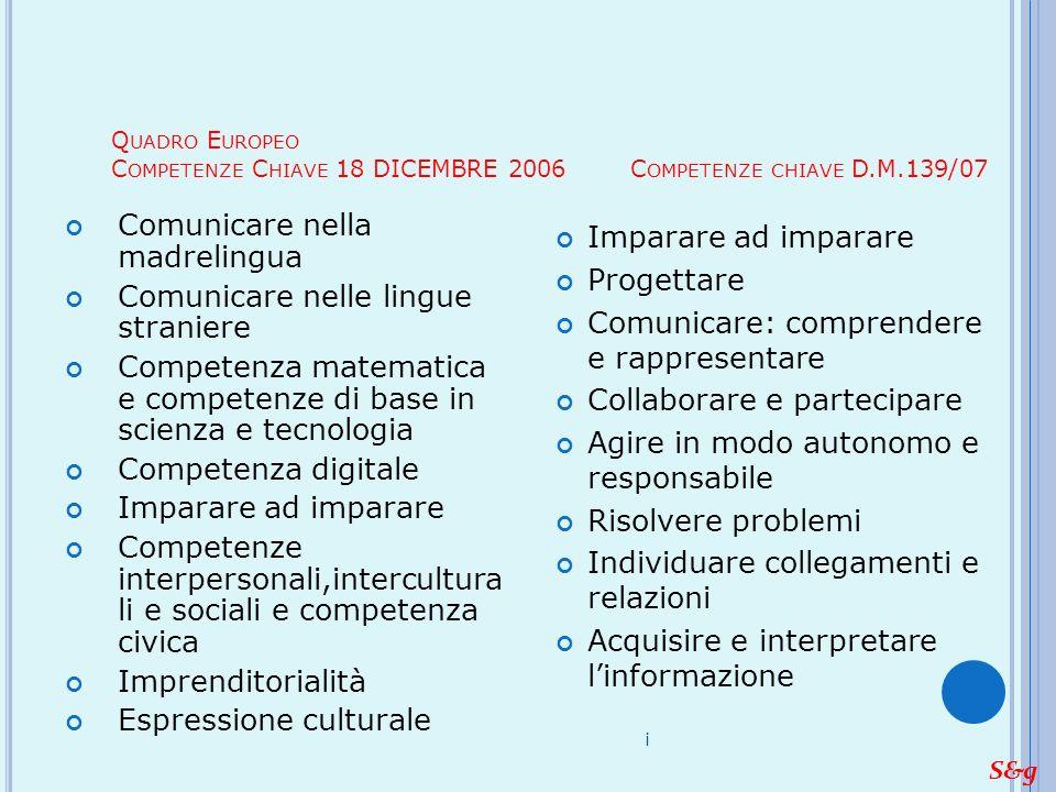 Comunicare nella madrelingua Comunicare nelle lingue straniere