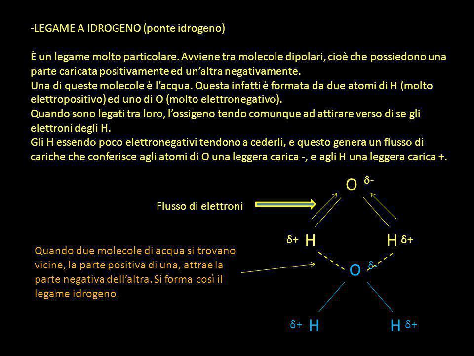 O H O H LEGAME A IDROGENO (ponte idrogeno)