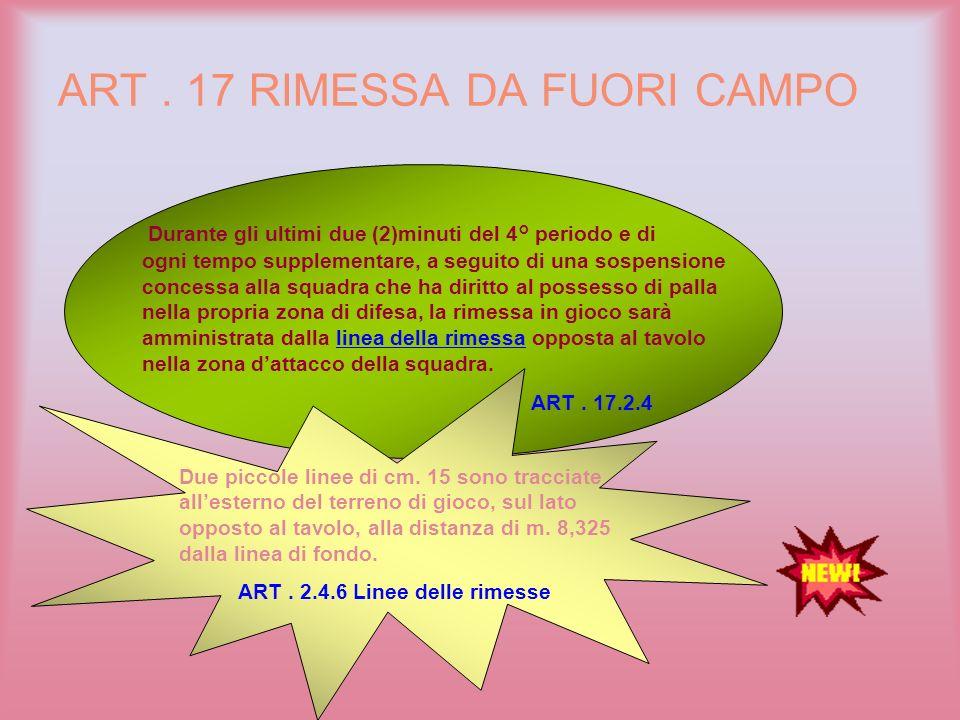 ART . 17 RIMESSA DA FUORI CAMPO