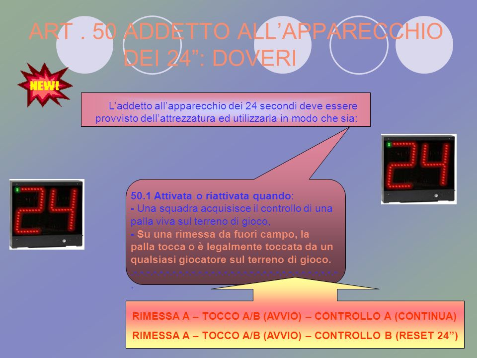 ART . 50 ADDETTO ALL'APPARECCHIO DEI 24 : DOVERI