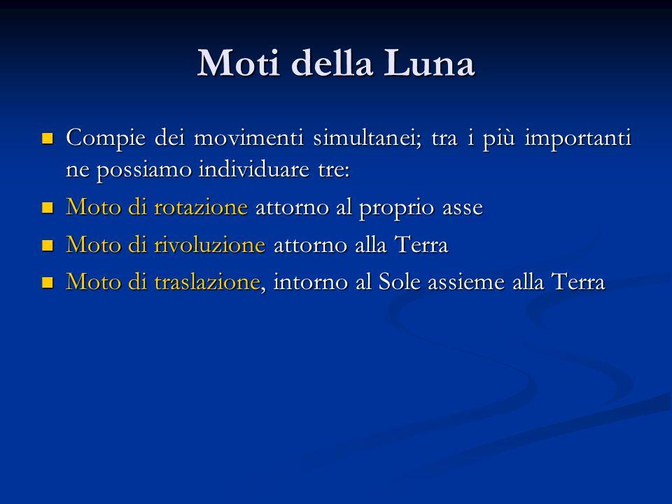 Moti della Luna Compie dei movimenti simultanei; tra i più importanti ne possiamo individuare tre: Moto di rotazione attorno al proprio asse.
