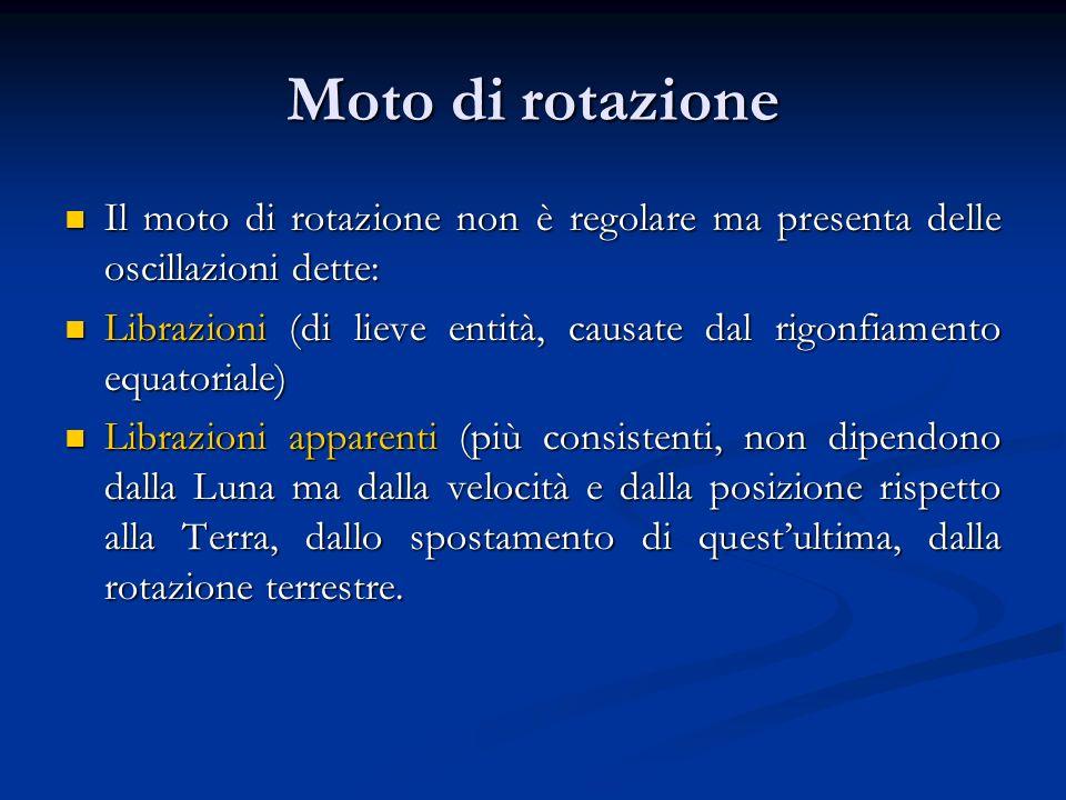 Moto di rotazione Il moto di rotazione non è regolare ma presenta delle oscillazioni dette:
