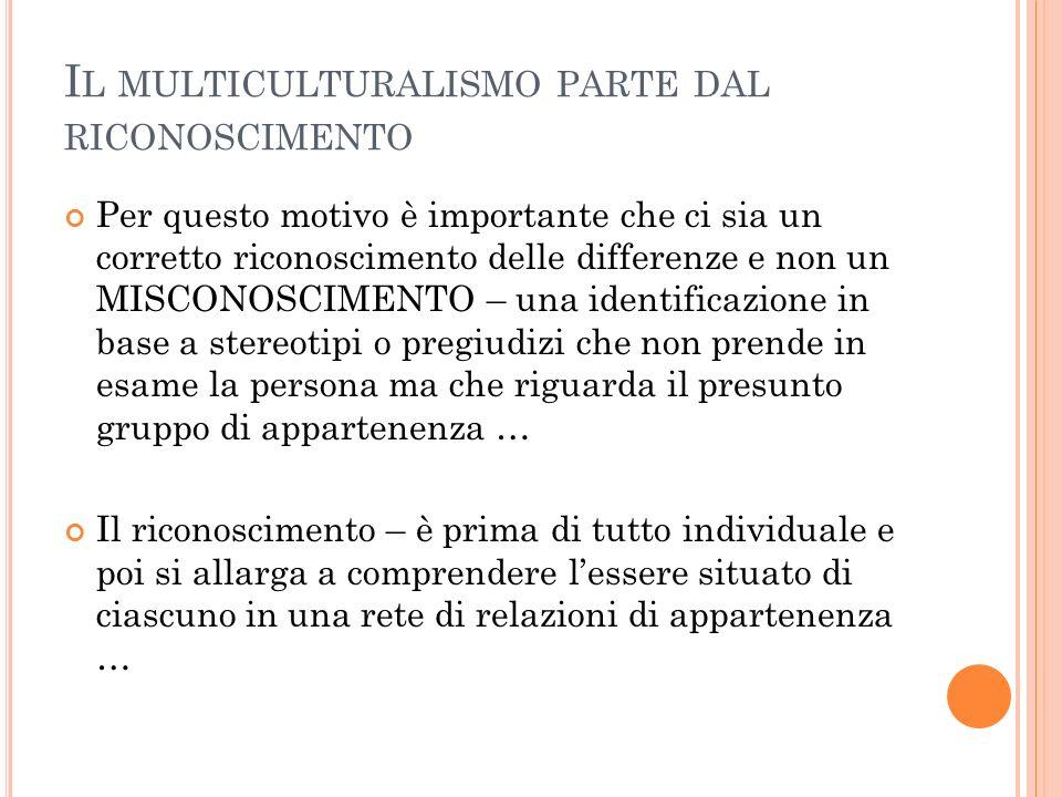 Il multiculturalismo parte dal riconoscimento