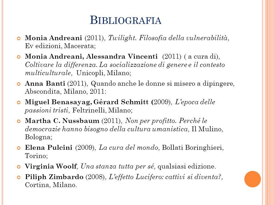 Bibliografia Monia Andreani (2011), Twilight. Filosofia della vulnerabilità, Ev edizioni, Macerata;