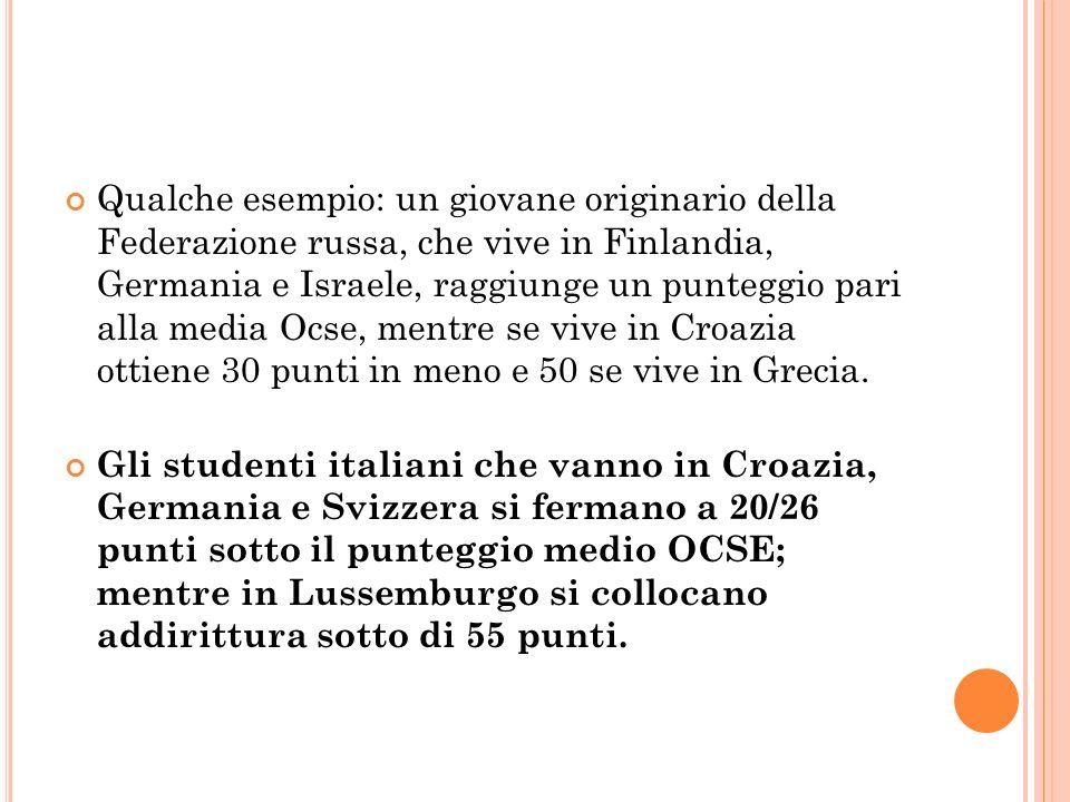 Qualche esempio: un giovane originario della Federazione russa, che vive in Finlandia, Germania e Israele, raggiunge un punteggio pari alla media Ocse, mentre se vive in Croazia ottiene 30 punti in meno e 50 se vive in Grecia.
