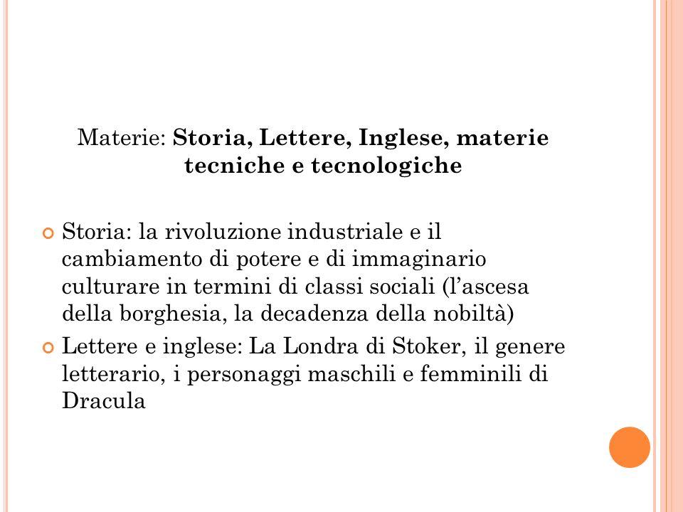 Materie: Storia, Lettere, Inglese, materie tecniche e tecnologiche