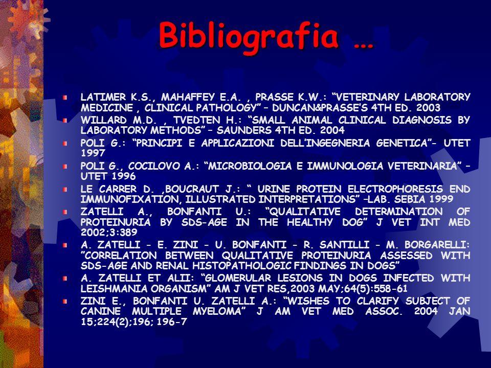 Bibliografia …LATIMER K.S., MAHAFFEY E.A. , PRASSE K.W.: VETERINARY LABORATORY MEDICINE , CLINICAL PATHOLOGY – DUNCAN&PRASSE'S 4TH ED. 2003.