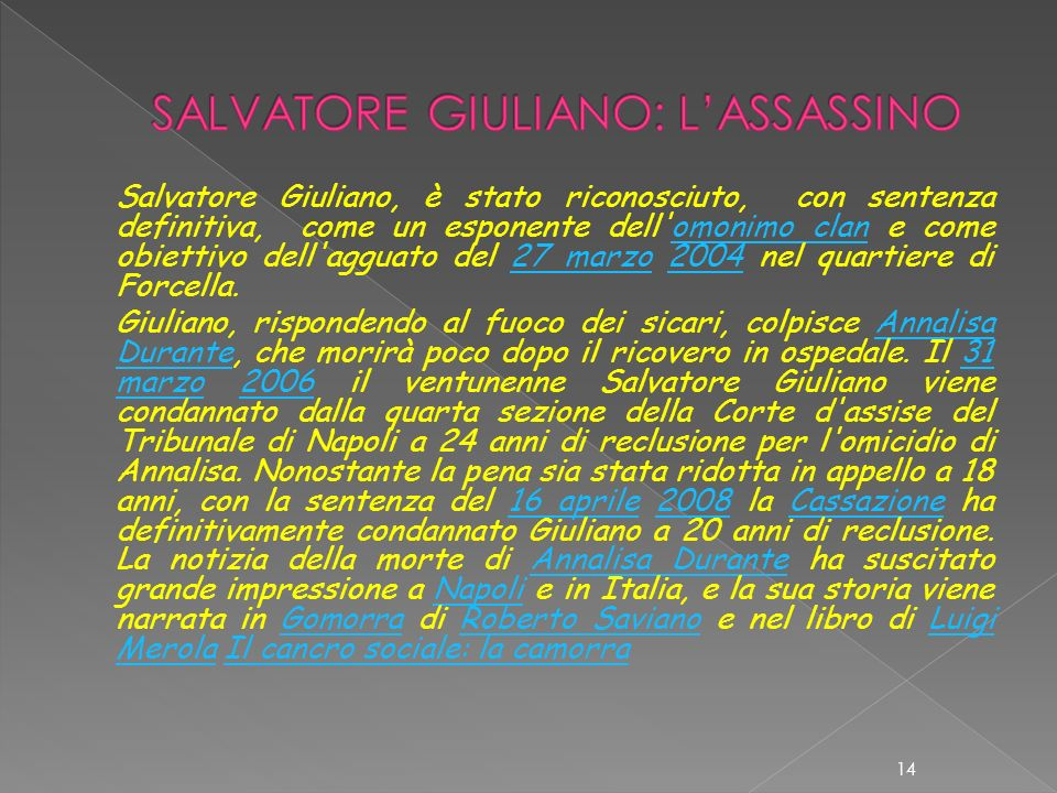 SALVATORE GIULIANO: L'ASSASSINO