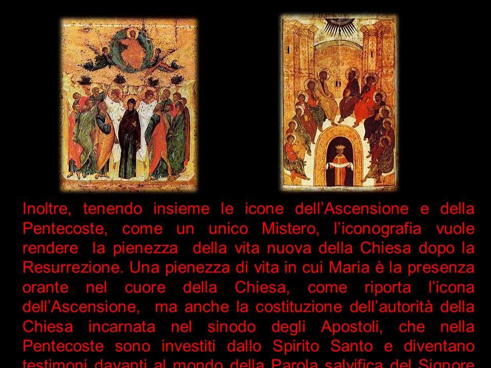 Inoltre, tenendo insieme le icone dell'Ascensione e della Pentecoste, come un unico Mistero, l'iconografia vuole rendere la pienezza della vita nuova della Chiesa dopo la Resurrezione.