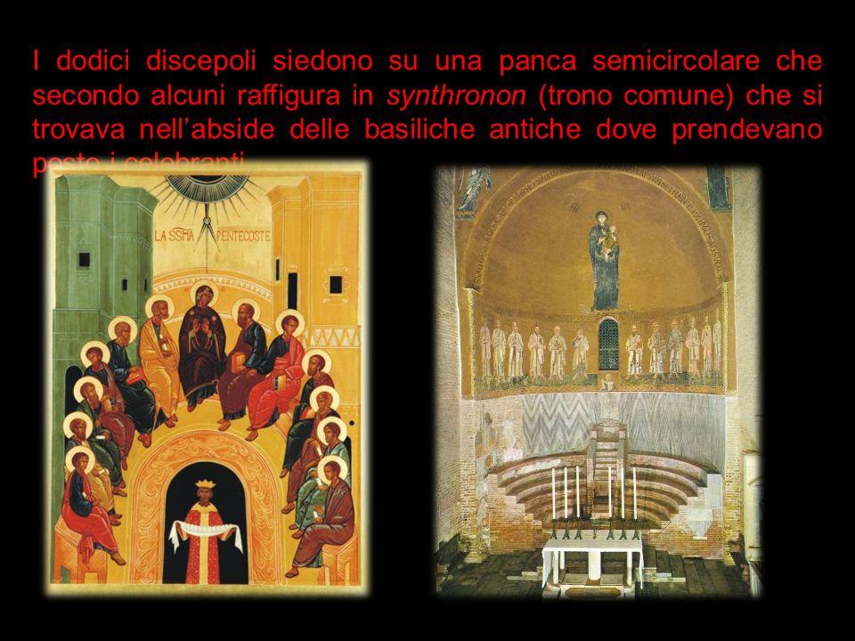 I dodici discepoli siedono su una panca semicircolare che secondo alcuni raffigura in synthronon (trono comune) che si trovava nell'abside delle basiliche antiche dove prendevano posto i celebranti.
