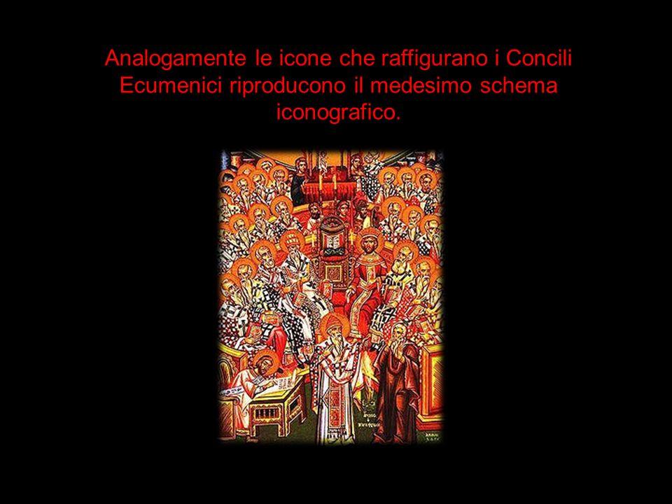 Analogamente le icone che raffigurano i Concili Ecumenici riproducono il medesimo schema iconografico.