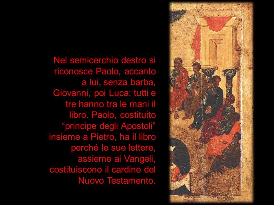 Nel semicerchio destro si riconosce Paolo, accanto a lui, senza barba, Giovanni, poi Luca: tutti e tre hanno tra le mani il libro.