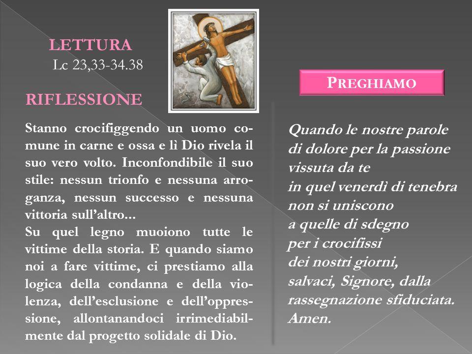 LETTURA RIFLESSIONE Preghiamo Lc 23,33-34.38 Quando le nostre parole