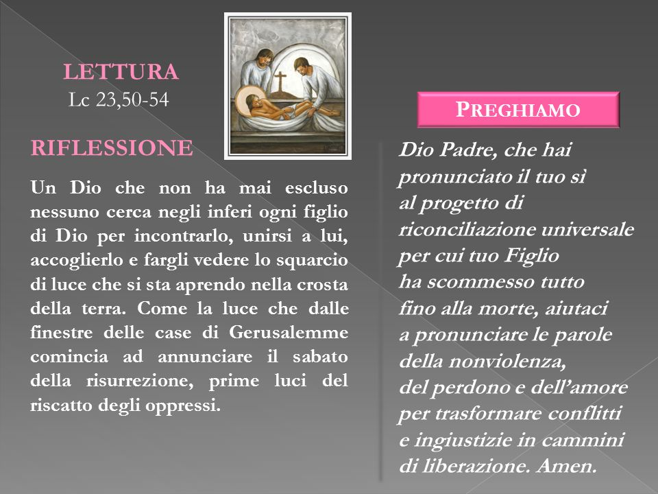 LETTURA RIFLESSIONE Preghiamo Lc 23,50-54