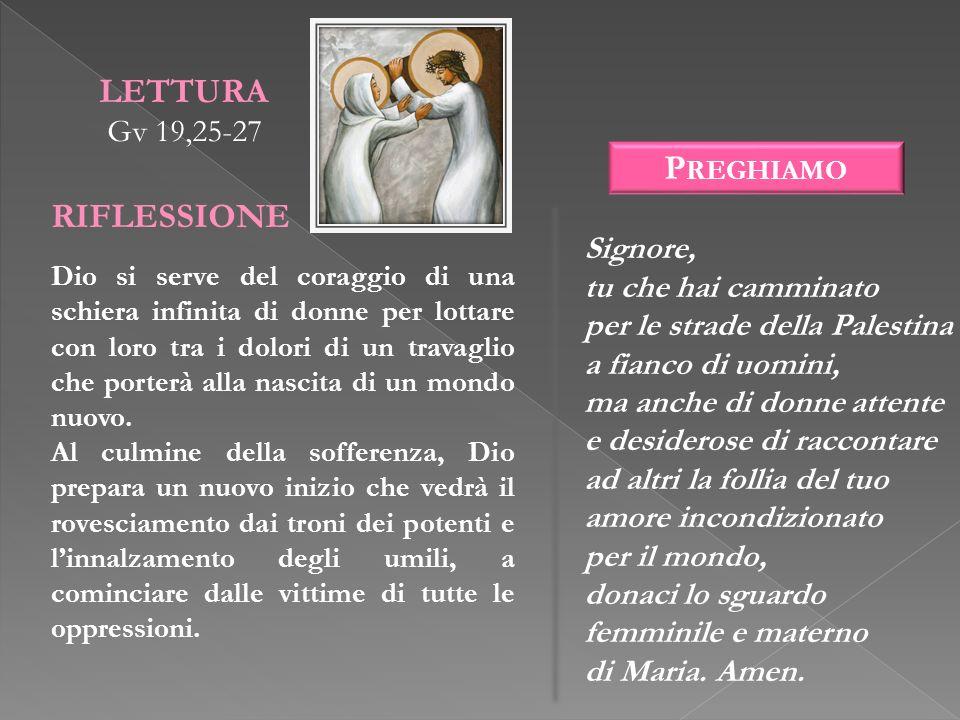 LETTURA RIFLESSIONE Preghiamo Gv 19,25-27 Signore,
