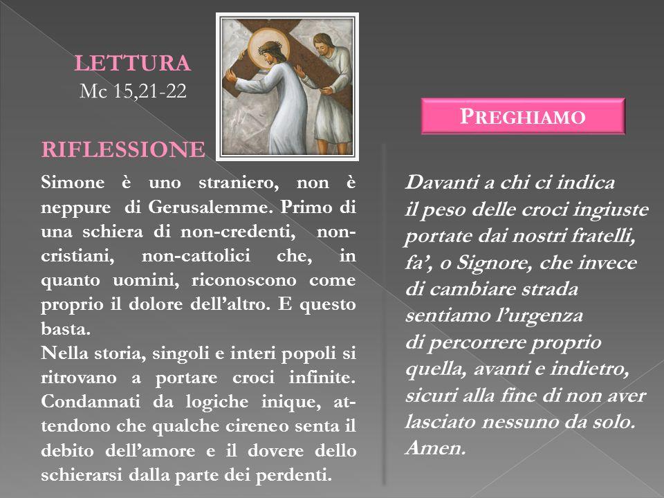 LETTURA RIFLESSIONE Preghiamo Mc 15,21-22 Davanti a chi ci indica