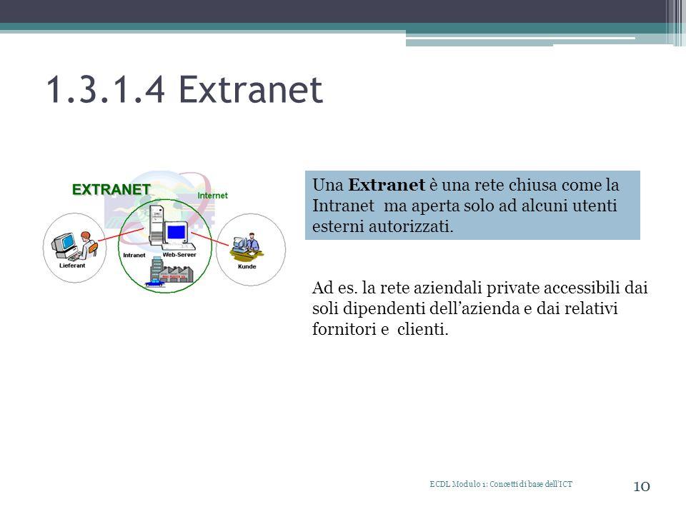 1.3.1.4 ExtranetUna Extranet è una rete chiusa come la Intranet ma aperta solo ad alcuni utenti esterni autorizzati.
