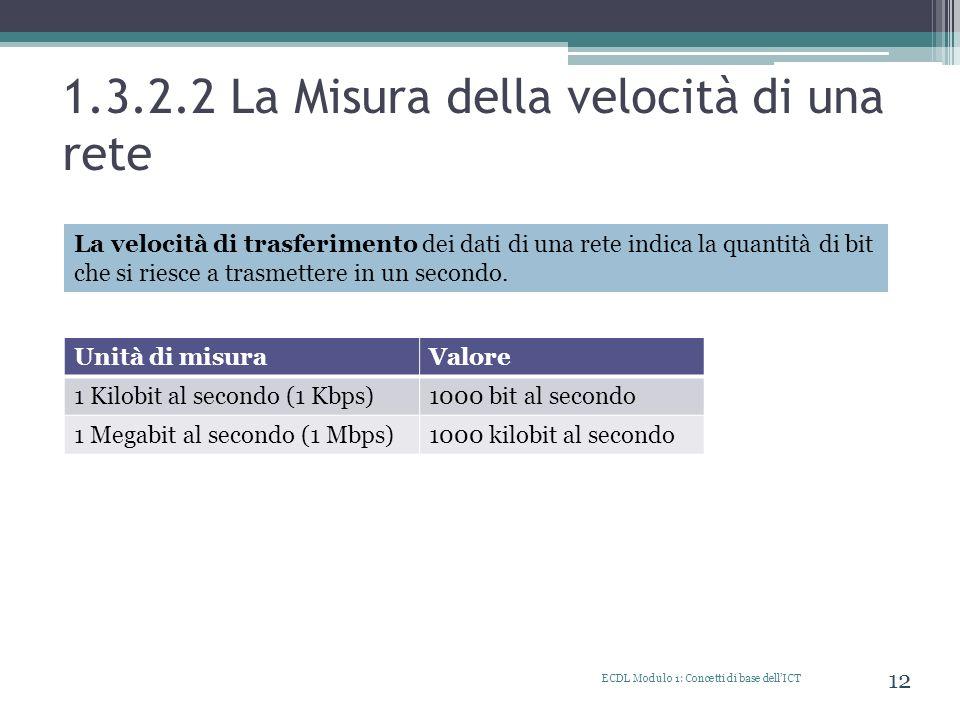 1.3.2.2 La Misura della velocità di una rete