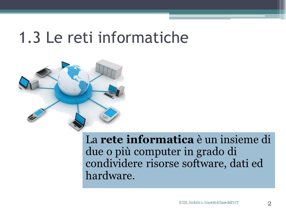 1.3 Le reti informatiche La rete informatica è un insieme di due o più computer in grado di condividere risorse software, dati ed hardware.