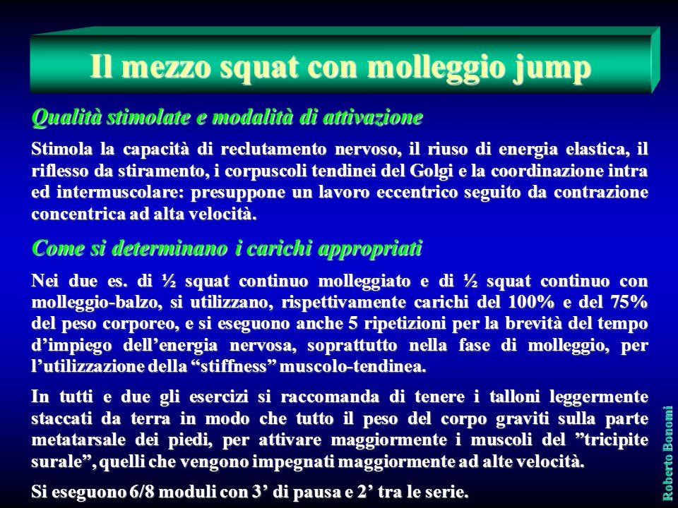 Il mezzo squat con molleggio jump