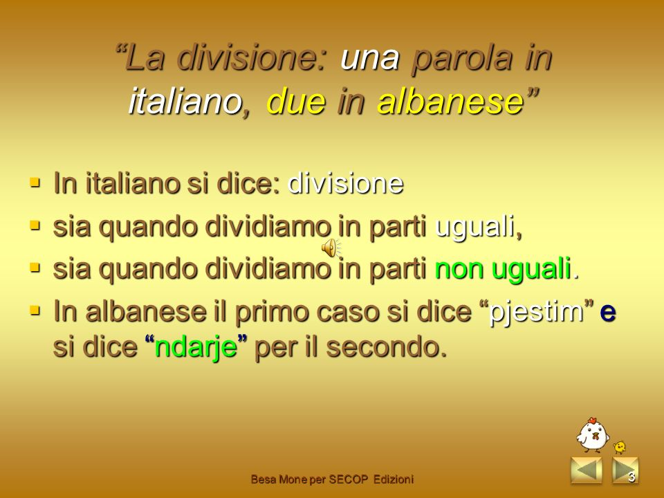 La divisione: una parola in italiano, due in albanese