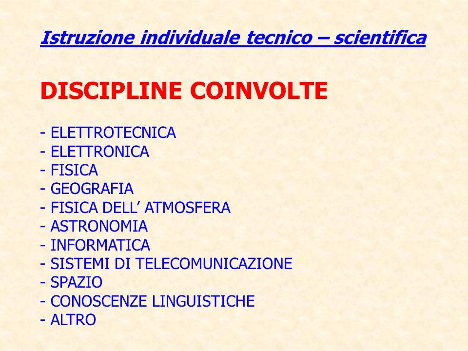 DISCIPLINE COINVOLTE Istruzione individuale tecnico – scientifica
