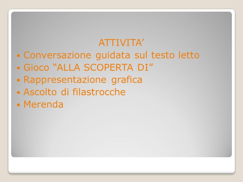 ATTIVITA' Conversazione guidata sul testo letto. Gioco ALLA SCOPERTA DI Rappresentazione grafica.