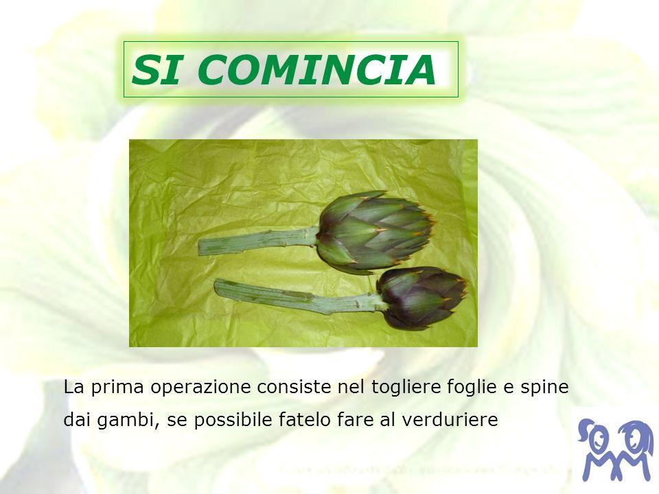 SI COMINCIA La prima operazione consiste nel togliere foglie e spine